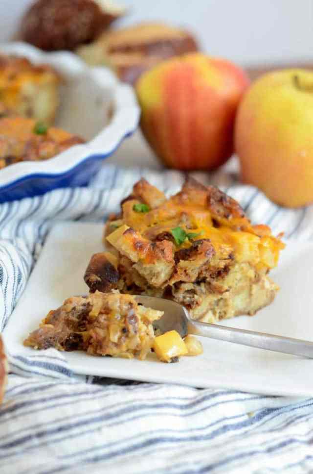 Savory Pretzel Bread Pudding with Cheddar, Apples and Sausage   CaliGirlCooking.com