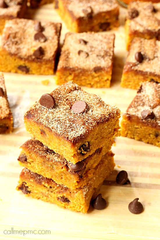 Chocolate Chip Pumpkin Snickerdoodle Blondies - Call Me PMc