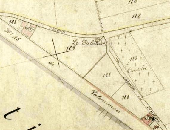 Cadastre 1896 section A 126 P 31/722 : le calvaire est communal (35 P 769).