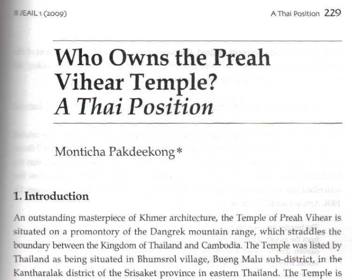 Who Owns Preah Vihear Temple-A Thai Position