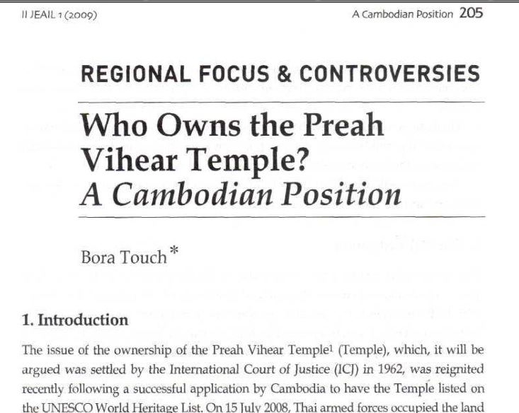 Who Owns the Preah Vihear Temple-A Cambodian Position