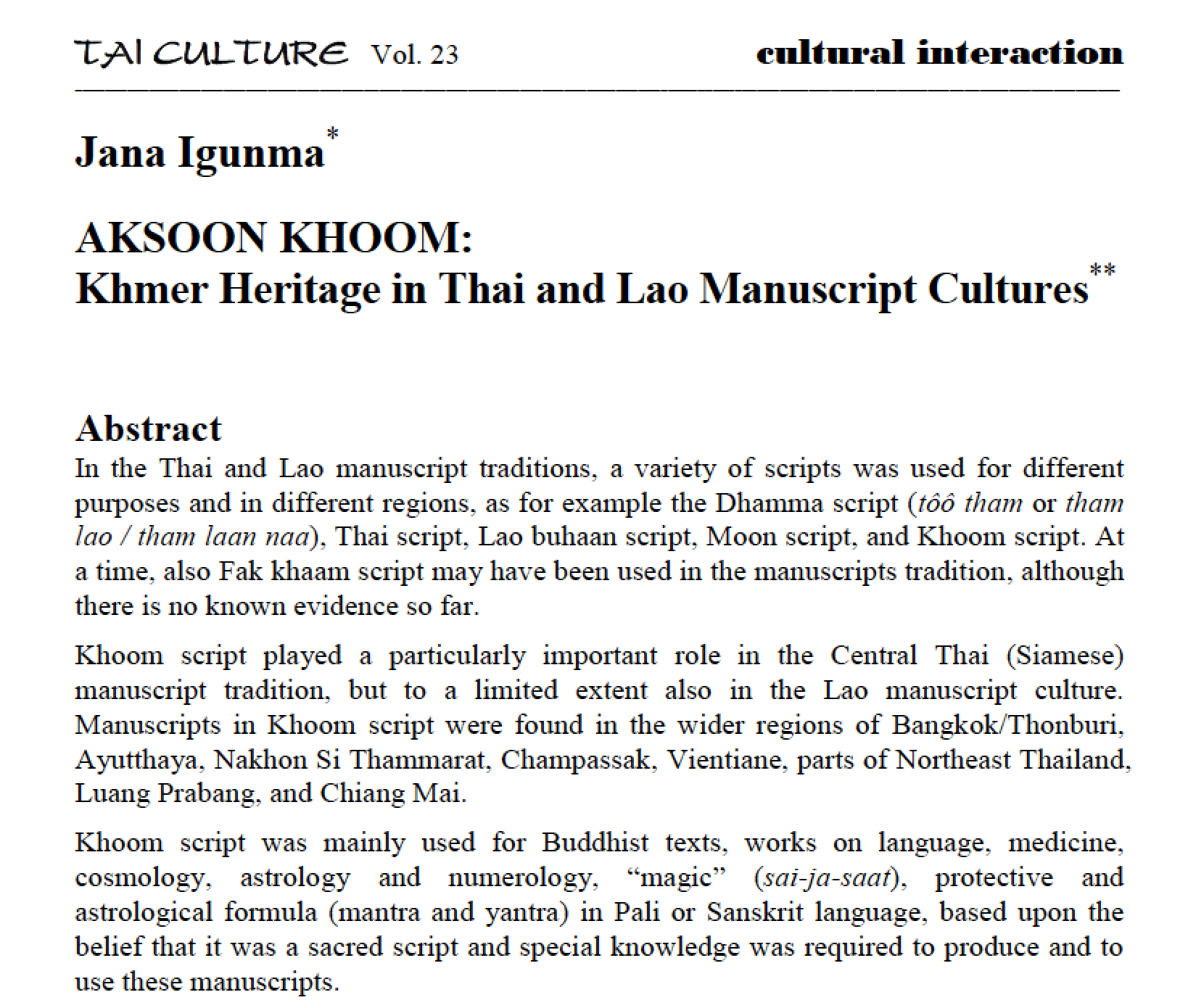 Khmer Heritage in Thai and Lao Manuscript