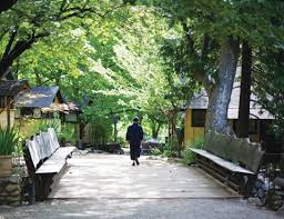 Monk crossing bridge.