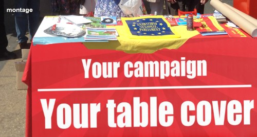Banners and table cover