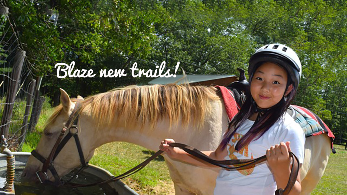 Blaze trails horseback riding at Camp Tall Timbers