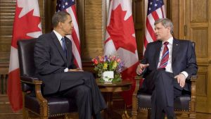 Barack Obama, President of the United States of America, with Stephen Harper, Prime Minister of Canada, 2009.