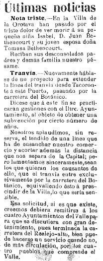 1909-09-07 Propuesta tranvia hasta Puerto de la Cruz