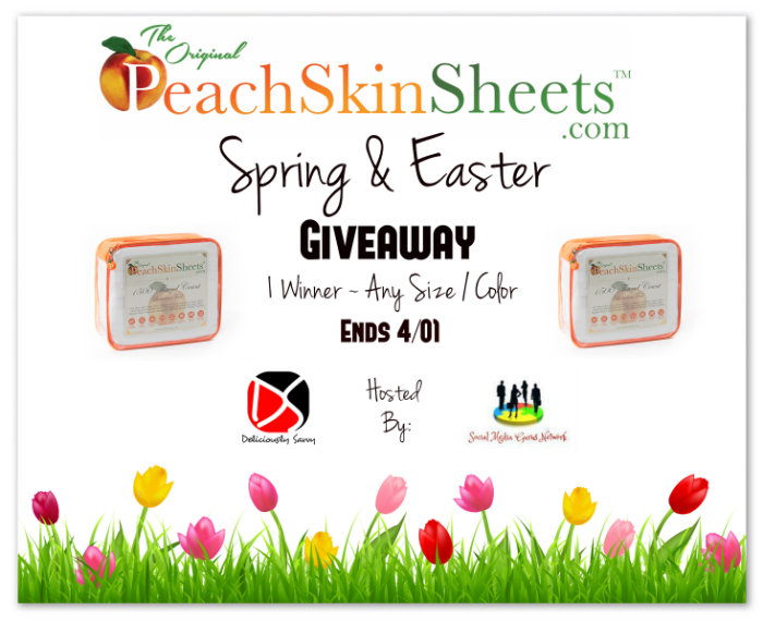 One winner gets to pick the size and color for their new Peach Skin Sheets! Ends 4/1.
