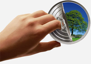 Hand opening a can with a tree inside