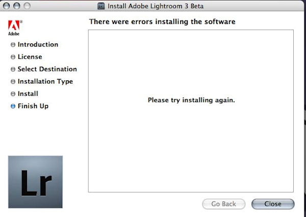 Lightroom 3.0 Beta Error