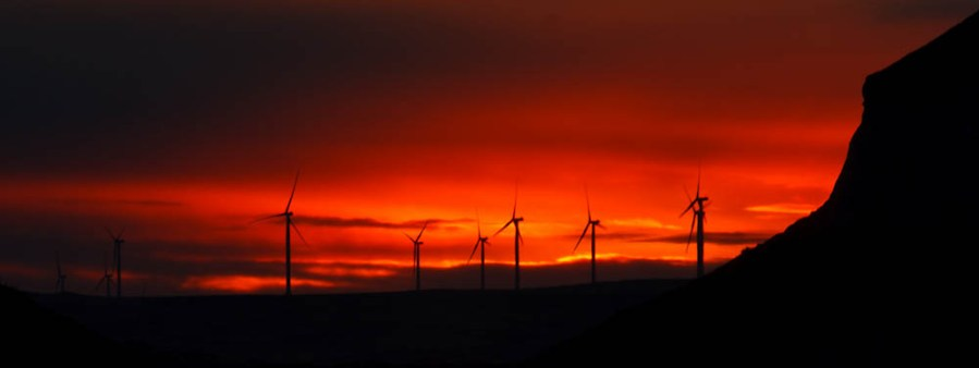 Windmills at Sunset in Pawnee Butte