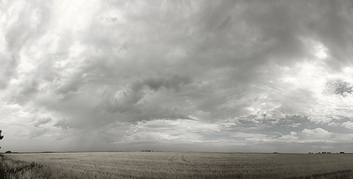 Black and White Panorama of the Kansas Skies