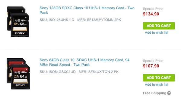 Sony 2-Packs Memory Cards
