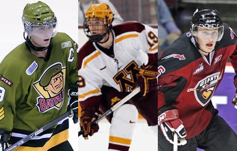 Cody Hodgson, Jordan Schroeder and Kevin Connauton
