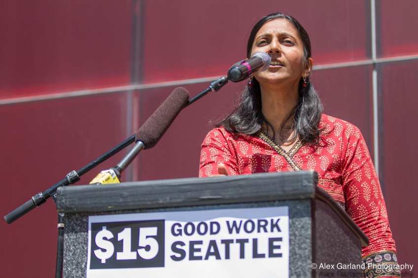 Sawant addresses a rally before Monday's vote (Image: CHS)