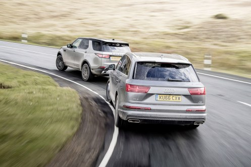 Audi Q7, BMW X5, Land Rover Discovery & Volvo XC90. Group test, Wales. Photo: James Lipman / jameslipman.com