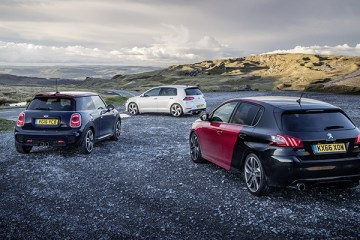 PEUGEOT 308 GTi vs MINI John Cooper Works vs VOLKSWAGEN Golf GTi