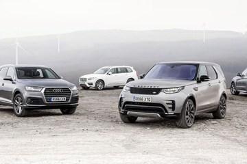 Audi Q7, BMW X5, Land Rover Discovery & Volvo XC90. Group test, Wales.  Photo: James Lipman / jameslipman.com
