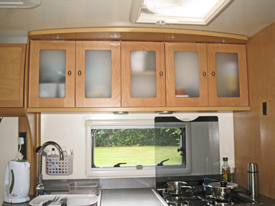 Kitchen inside the new Bailey Caravan