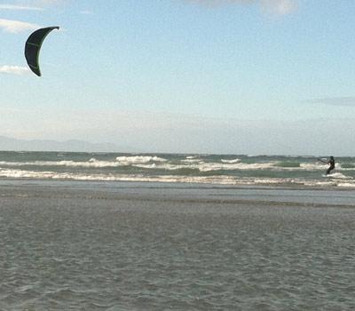 Kite surfing action shot