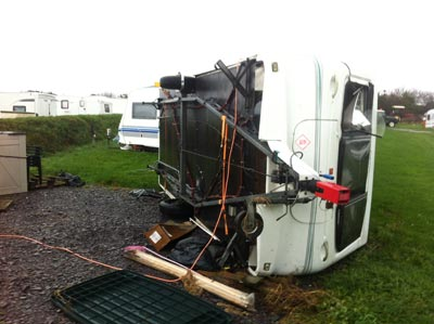Elddis Typhoon on its side