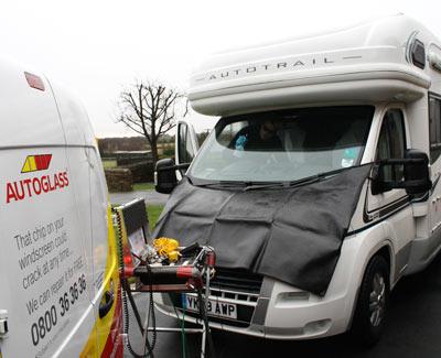 cleaning motorhome windscreen