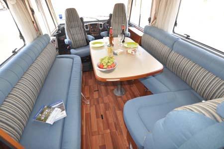 The spacious 2013 Hymer B544 motorhome interior layout