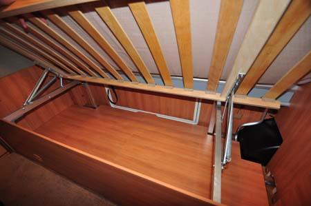 Hymer Nova 580 under-bed storage