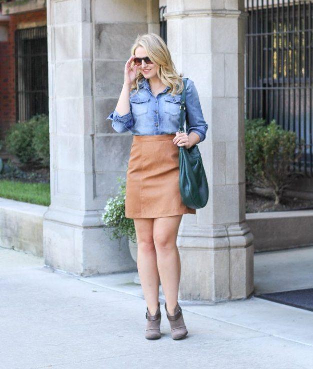 asos suede skirt, faux suede skirt, brown suede skirt, fall trend suede skirts, fall skirts under $50