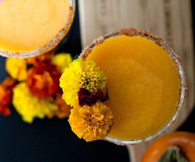 persimmon margarita recipe with edible flowers