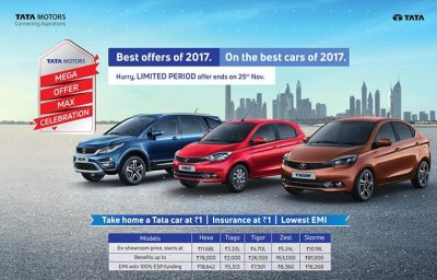 Mega Offer Max Celebration Brings Discounts and Offers on Tata Cars