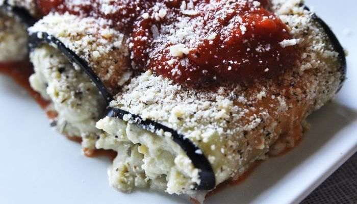 Eggplant Involtini w/Pesto Filling Low-Carb Side Dish from CarbSmart Low-Carb & Gluten-Free Holiday Entertaining Cookbook