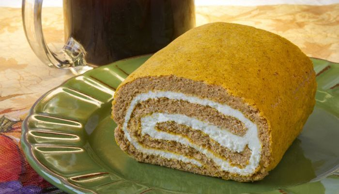 Parke County Pumpkin-Cream Cheese Roll Low-Carb Recipe From CarbSmart Low-Carb & Gluten-Free Holiday Entertaining Cookbook