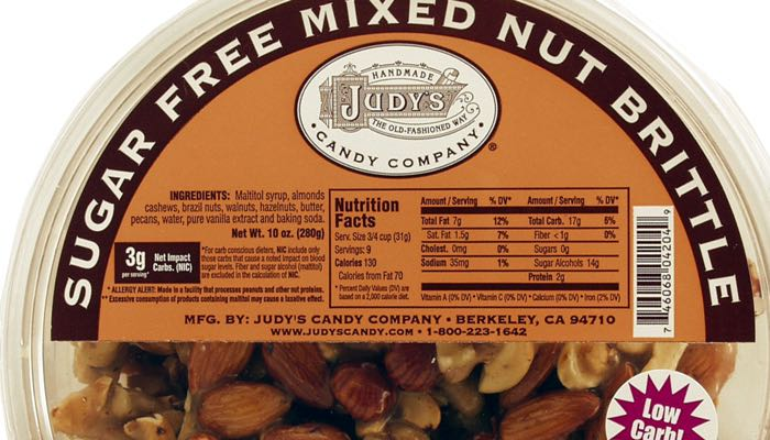 Judy's Candy Co. Sugar Free Mixed Nut Brittle 10 oz. tub