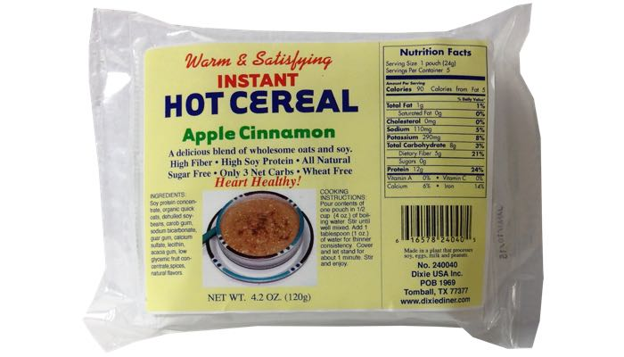 Apple Cinnamon Instant Hot Cereal 5 pack by Dixie Carb Counters