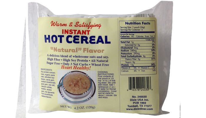 Natural Instant Hot Cereal 5 pack by Dixie Carb Counters