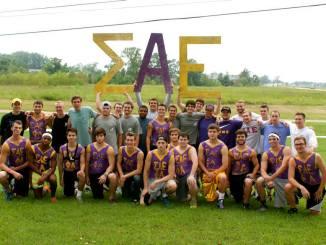 ΣAE celebrates brotherhood and new members on fraternity bid day last fall.