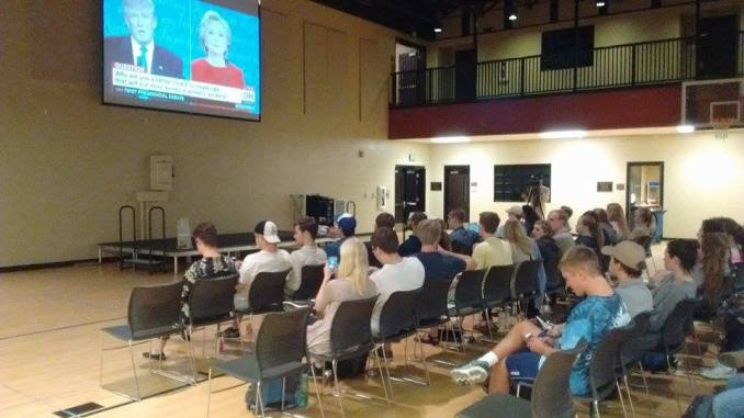 Students viewed the debate in the Bowld gym.