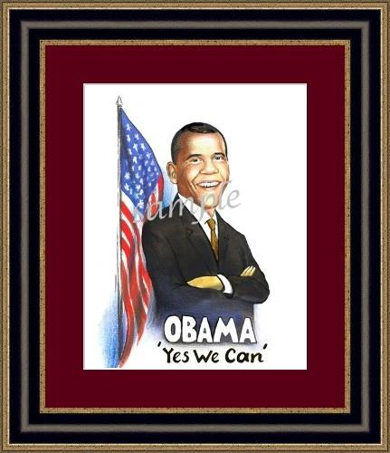 Barack Obama framed caricature portrait