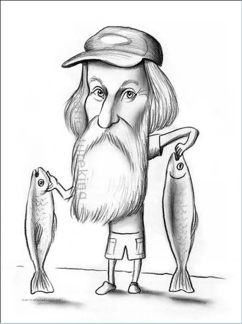 fisherman caricature art