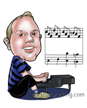man playing piano caricature