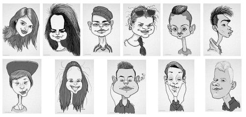 graduating class caricature gift from teacher