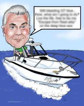 retirment gift caricature of  man in boat