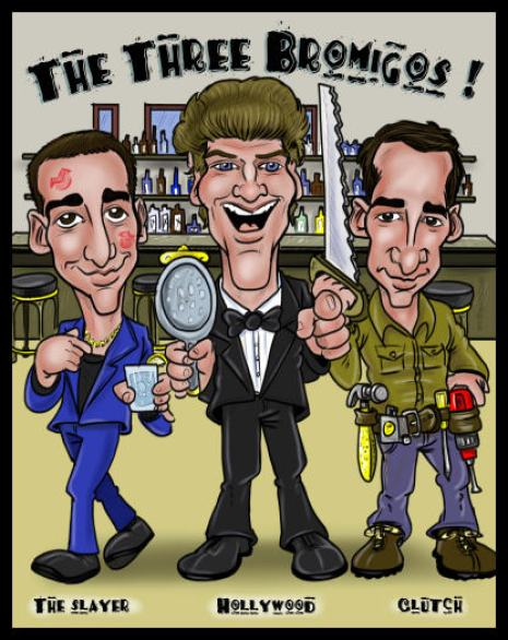three friends caricature from caricatureking.com