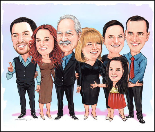 family caricature portrait from caricatureking.com