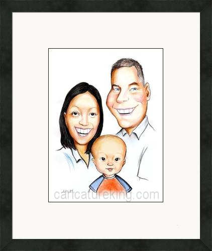 framed family caricature from caricatureking.com