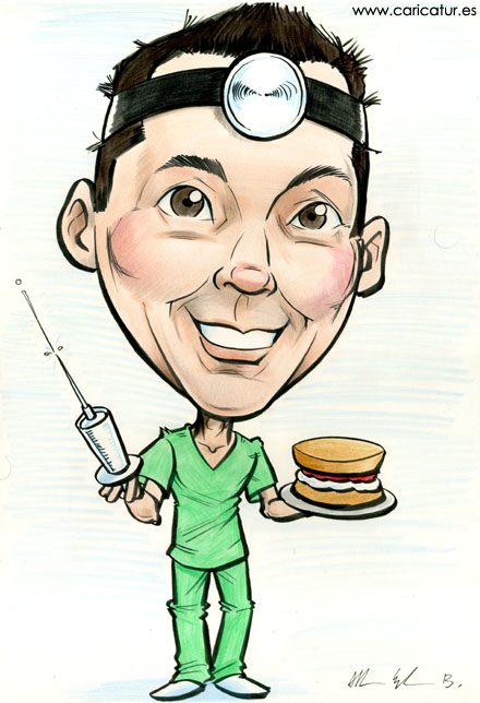 Caricature of a doctor by Allan Cavanagh Caricatures Ireland