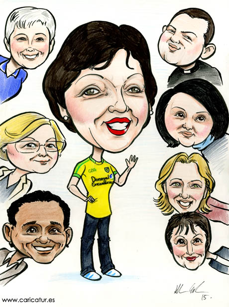 Retirement present from colleagues, caricatures by Allan Cavanagh www.caricatures-ireland.com