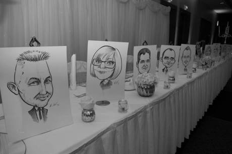 Caricature drawings of wedding party by Allan Cavanagh Caricatures Ireland