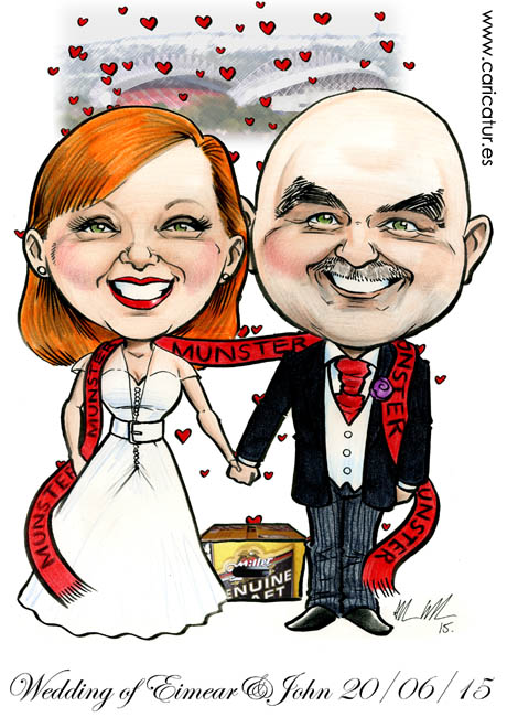 Caricature of newly married couple with Munster Rugby scarf and Thomond Park